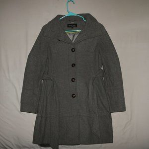 Black Rivet Wool Trench Pea Coat - Gray Grey
